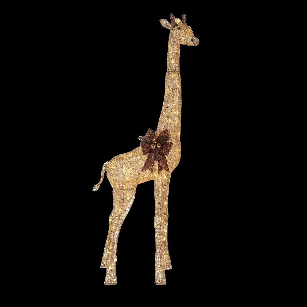 Home Accents Holiday 73 In Led Lighted Gold Grapevine Giraffe