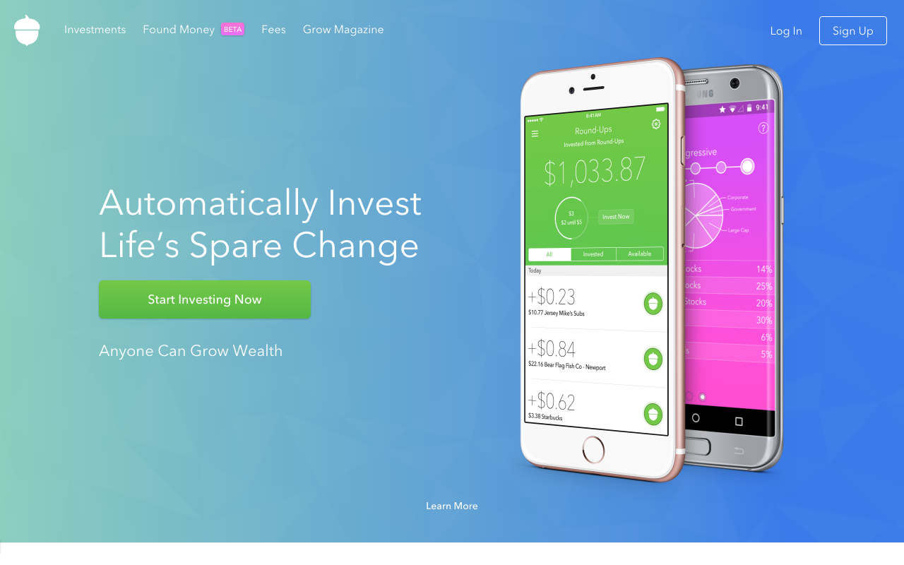Acorns Micro Investing app Every purchase you make