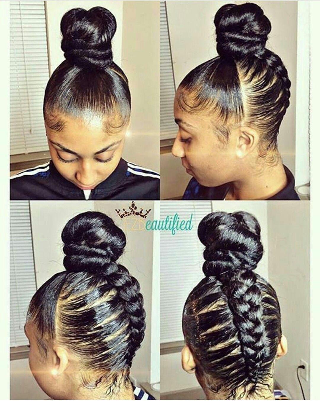 Sleek Top Knot Bun Using Kanekalon Hair My Style In 2019 Braided 30 Beautiful Ka Kanekalon Hairstyles Black Hair Updo Hairstyles Braided Bun Hairstyles