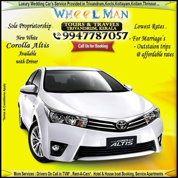 Pin By Sujan On Wedding Cars In Trivandrum Wedding Car Corolla Altis Kollam