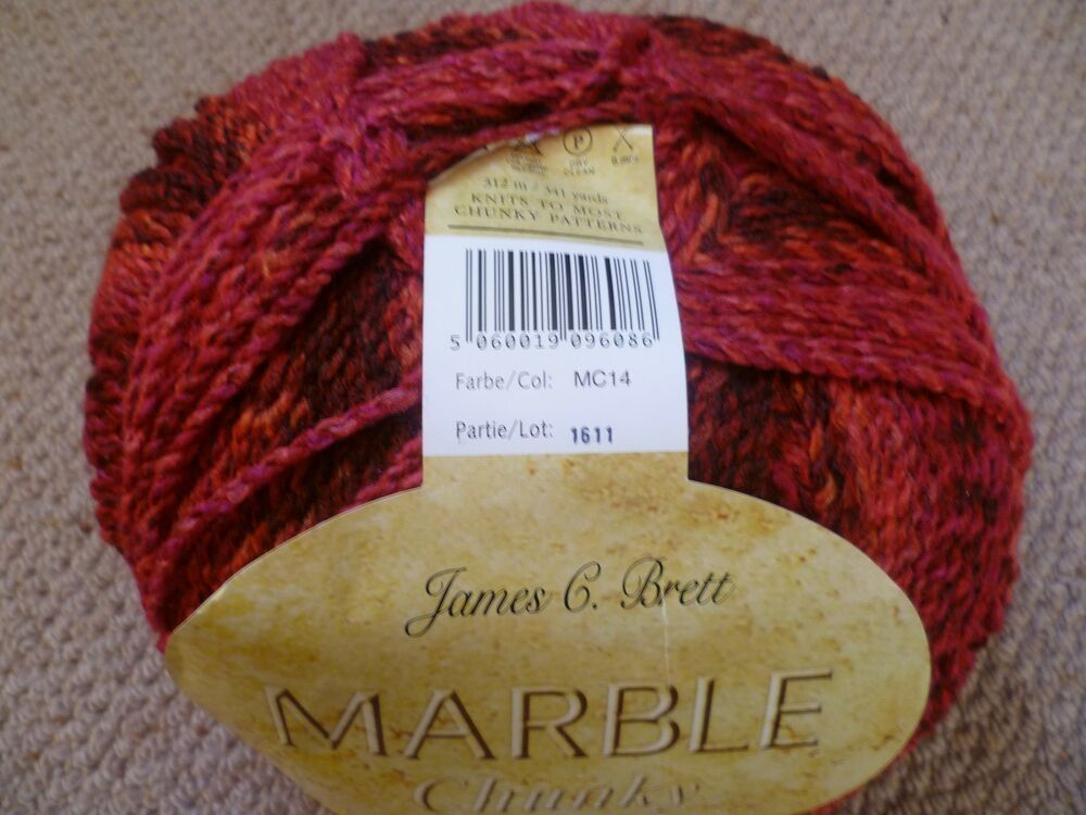 James C Brett Marble Chunky Knitting Wool Yarn 1 X 200g ball MC77