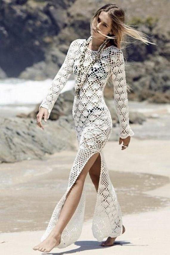 Häkeln Sie, langes Kleid, weißes Kleid, langes weißes Kleid, Hochzeit am Strand, Strandkleidung, Baumwollkleid, Brautjungfernkleid #crochetdress
