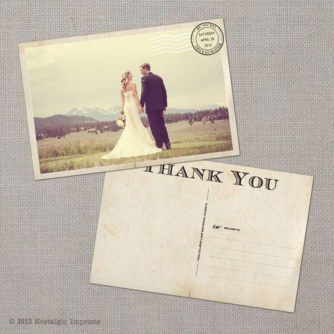 Vintage Wedding Thank You Postcardsif I had to do all over - wedding postcard