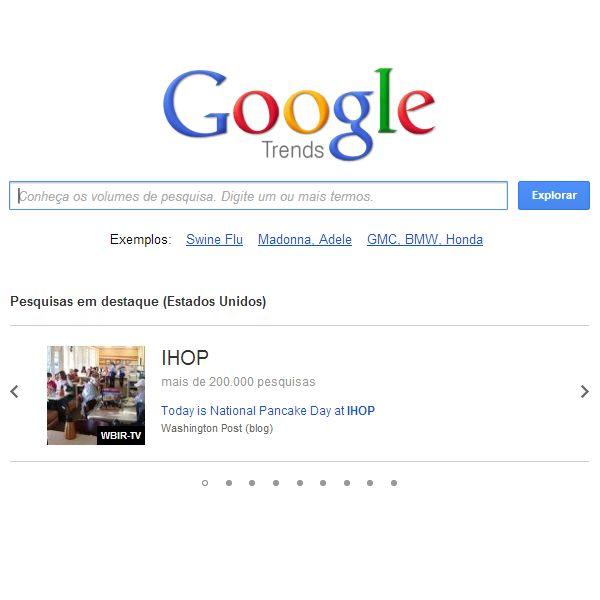 Google Trends é uma ferramenta do Google que mostra os mais populares termos buscados em um passado recente.    Acesse: http://www.google.com/trends/