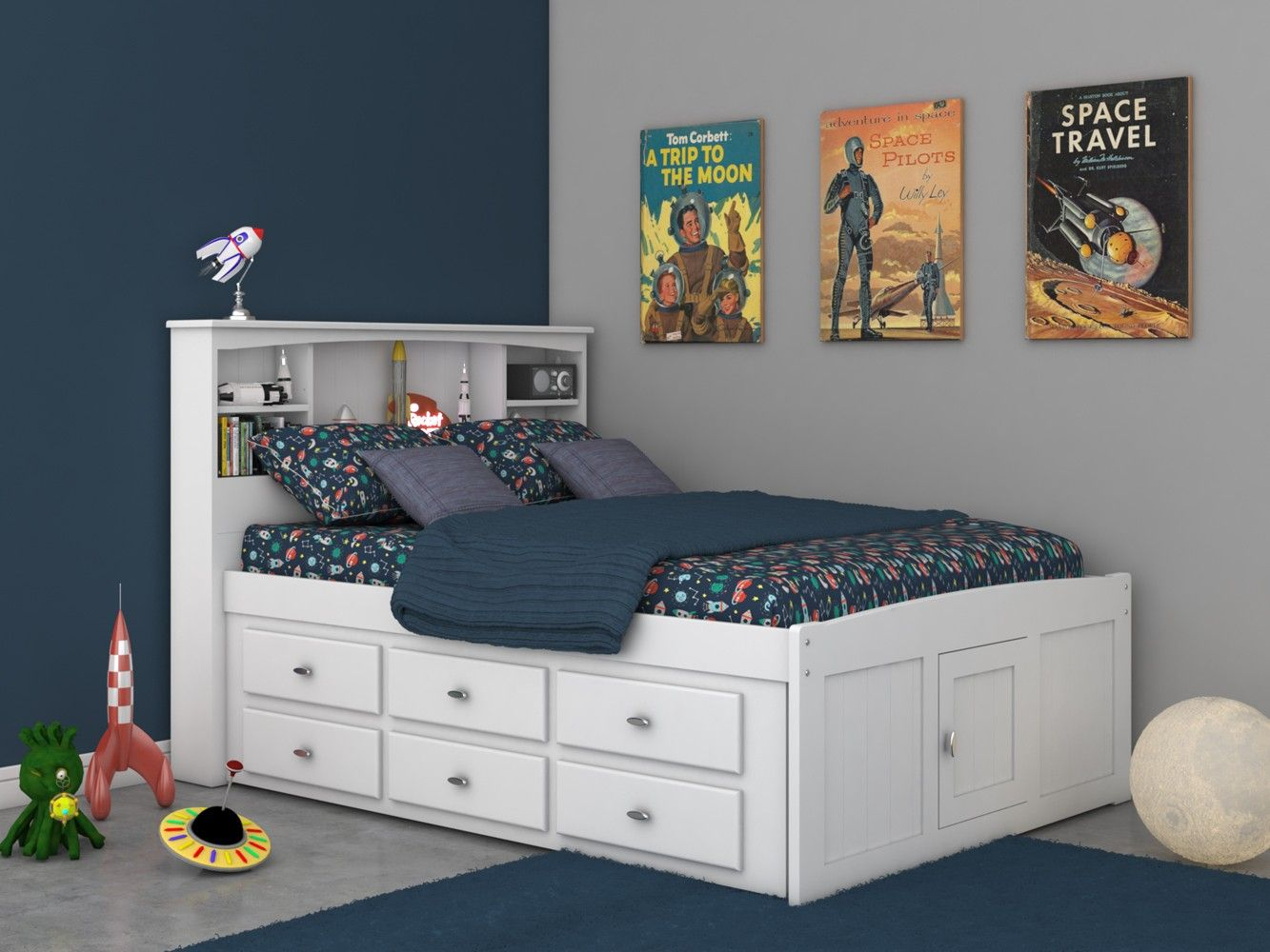 Discovery World Furniture Full Bookcase Captains Bed in