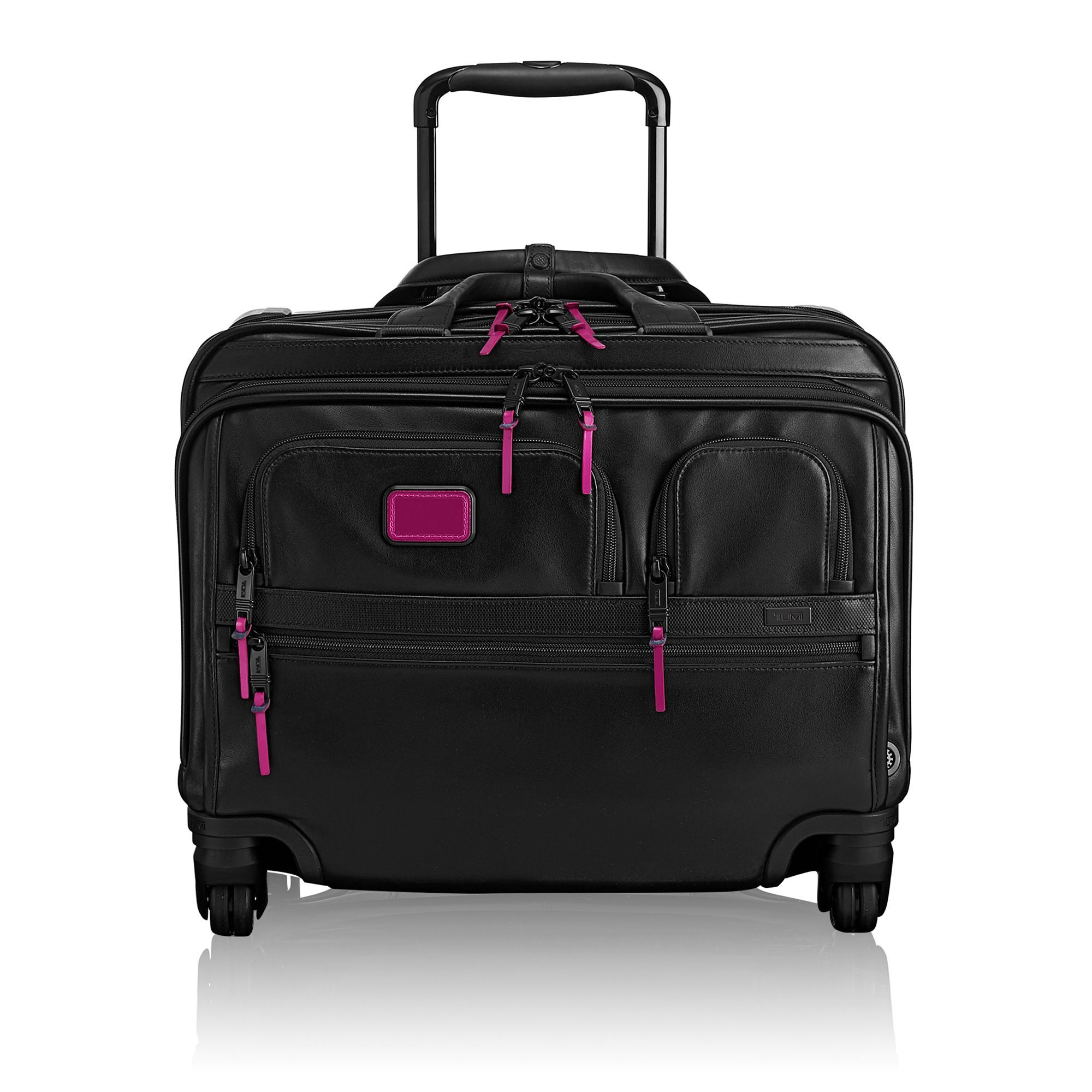 1c1662883 TUMI 4 Wheeled Deluxe Leather Brief with Laptop Case - Metallic Pink. #tumi  #bags #shoulder bags #hand bags #lining #leather #metallic #