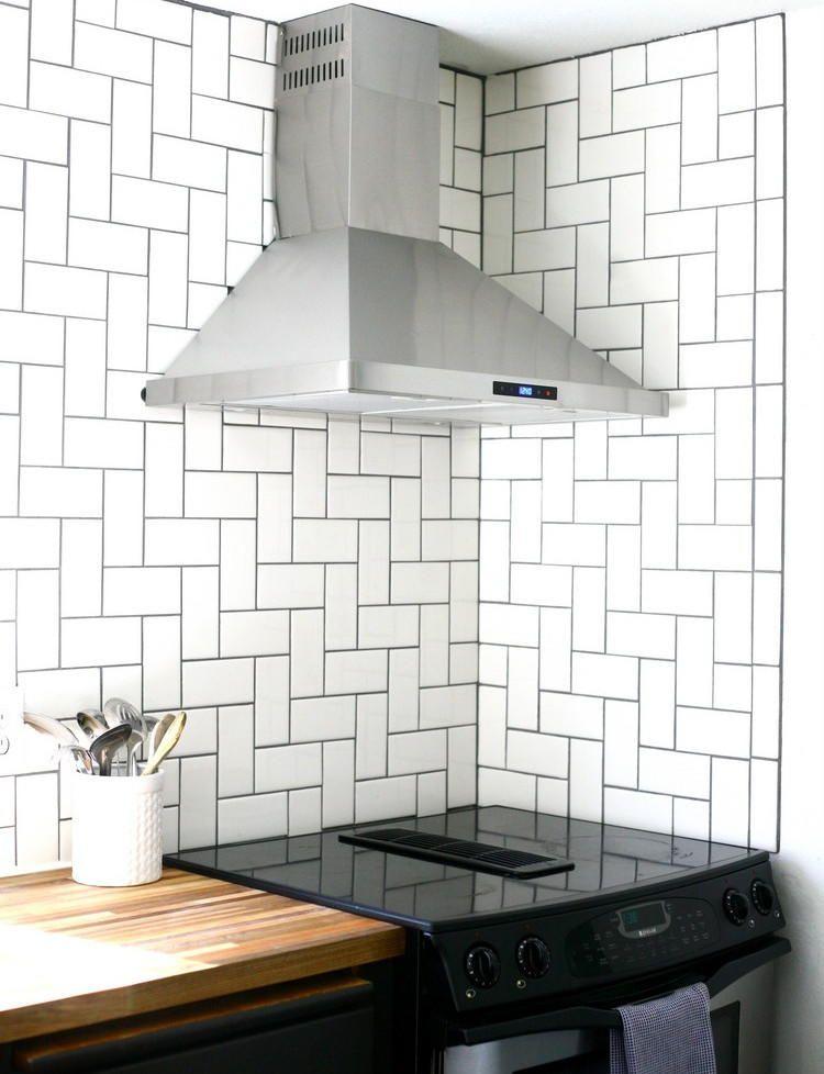 Straight Herringbone Tile Backsplash Tutorial Cheap Kitchen Remodel Herringbone Tile Backsplash Kitchen Design Diy
