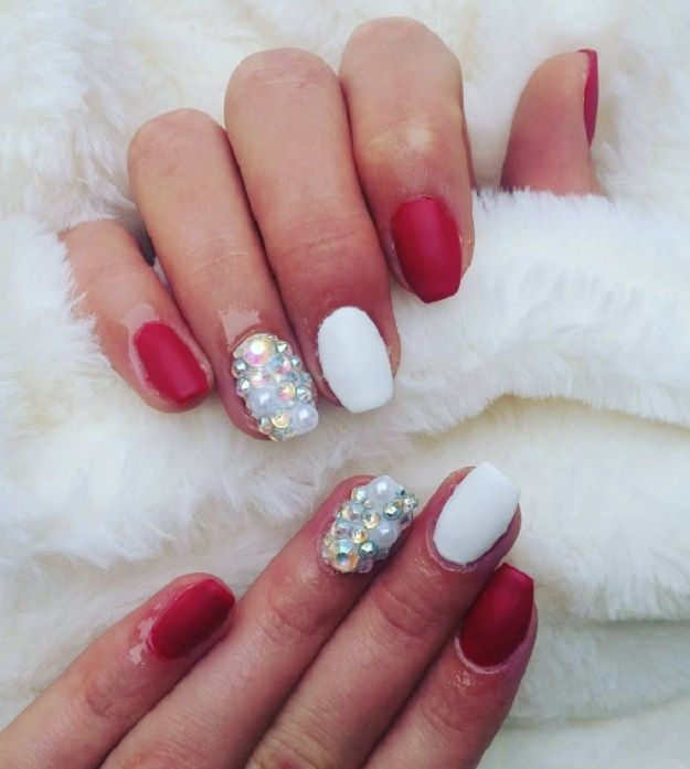 Pearls and Diamonds | Red And White Nail Art Designs To Try On Valentine's  Day - 18 Red And White Nail Art Designs To Try On Valentine's Day Pretty
