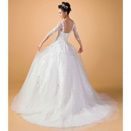 White Beaded Lace Tulle Short Sleeve Bridal Wedding Dress Ball Gowns SKU-118366