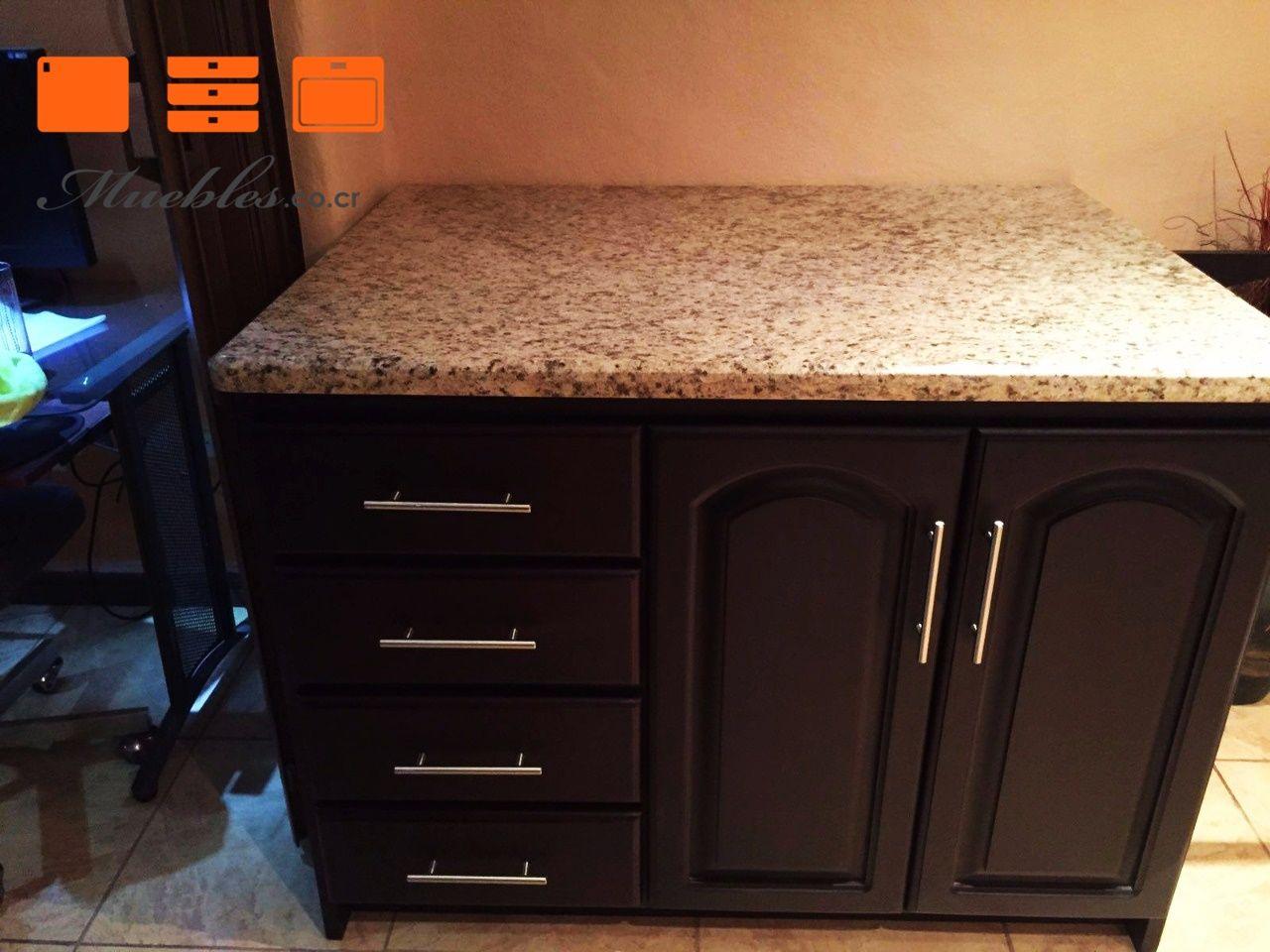 Isla para almacenamiento con sobre natural de granito. | Muebles de ...