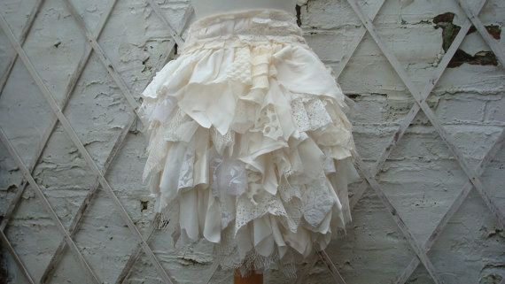 $79.00Upcycled Bustle Ivory Cream White Mori Girl by BabaYagaFashion