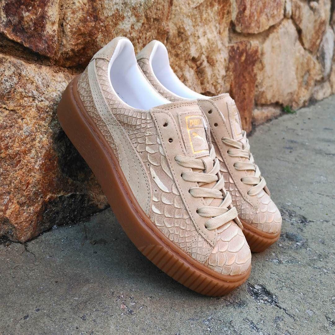 puma basket platform exotic skin beige