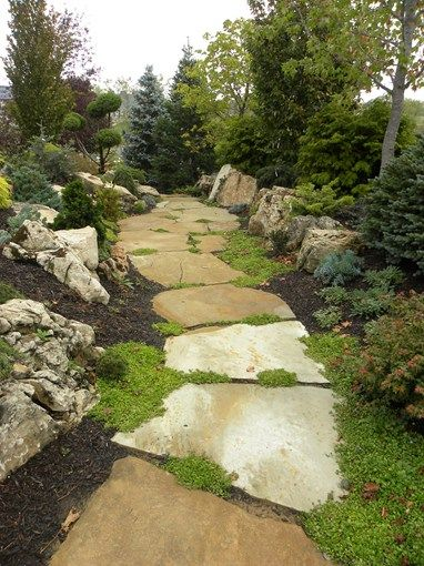 Large Flagstone Slab Walkway Walkway and Path Smalls Landscaping