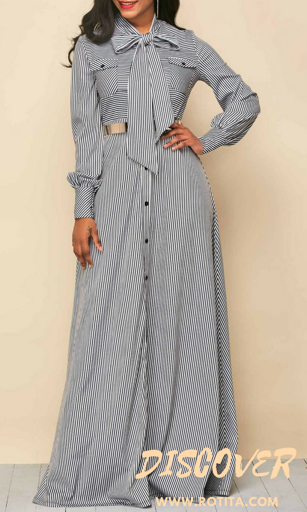 1dd9dd2b9 Button Up Tie Neck Stripe Print Maxi Dress We have series of strip dress at  www.rotita.com,just check it out.,you will find something you love  here.#rotita