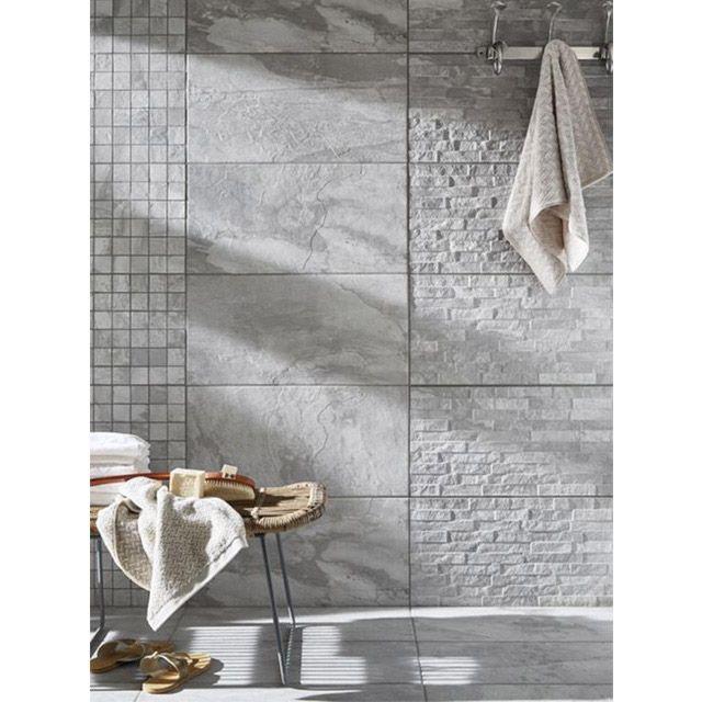 Carrelage mural Decor gris 30 x 60 cm Grande Norde - CASTORAMA - faience ardoise salle de bain