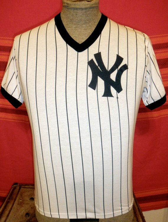 Vintage Pinstripe New York Yankees V Neck Ringer T Shirt Perfect