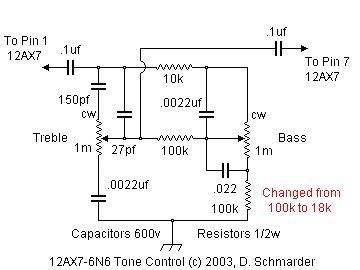 Pleasing Dave Schmarders 2 Tube Audio Amplifier Tone Circuit Schematic Wiring Database Denligelartorg