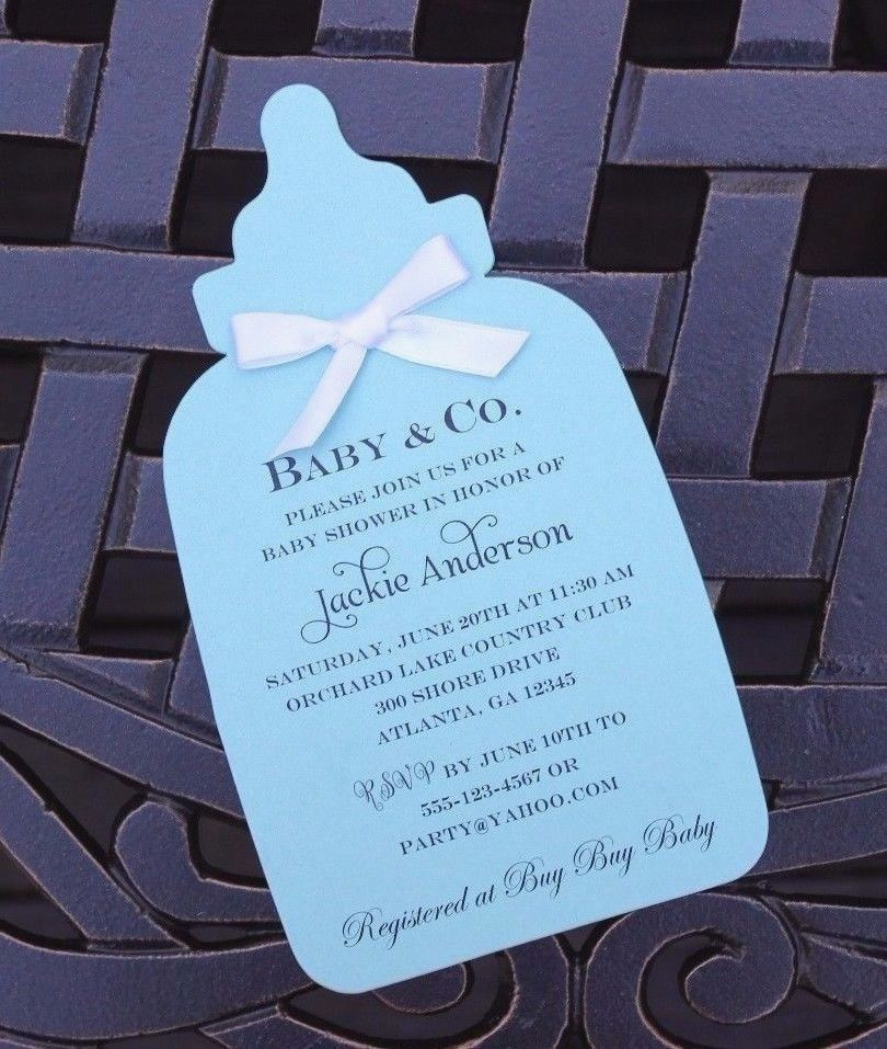 Baby Bottle Baby Shower Invitation Choice of card Color – Card Stock for Invitations