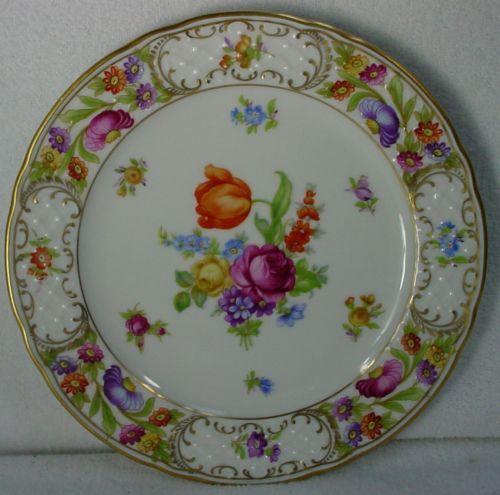 SCHUMANN china EMPRESS DRESDEN FLOWERS pattern SALAD PLATE 7-3/4 ...