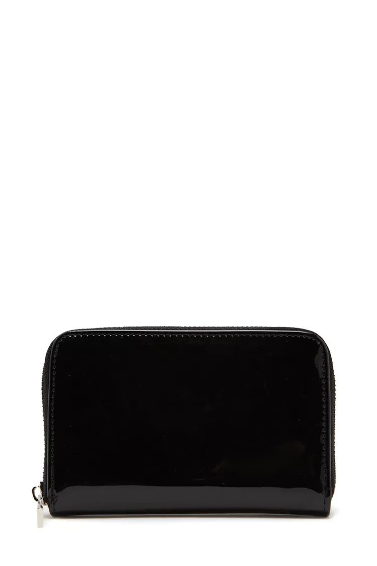 A faux patent leather wallet featuring six card slots an
