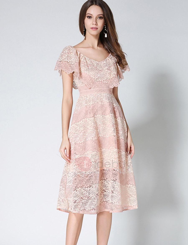 Adorewe tidebuy tidebuy color block short sleeve lace dress