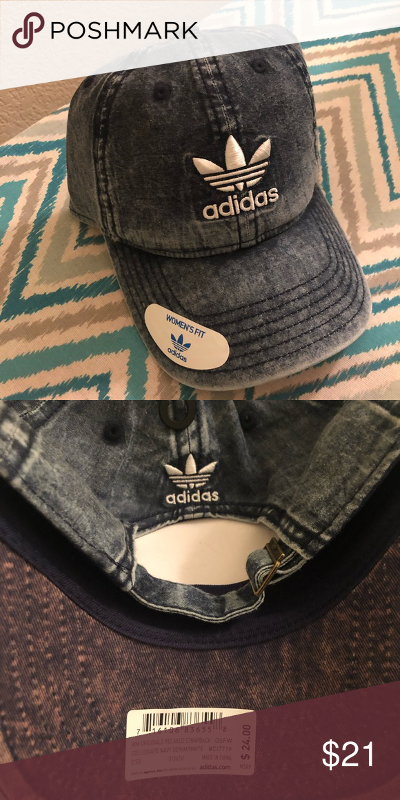 604ed81c47204 Adidas denim hat This trendy Adidas Originals logo hat is the perfect  accessory to any athleisure