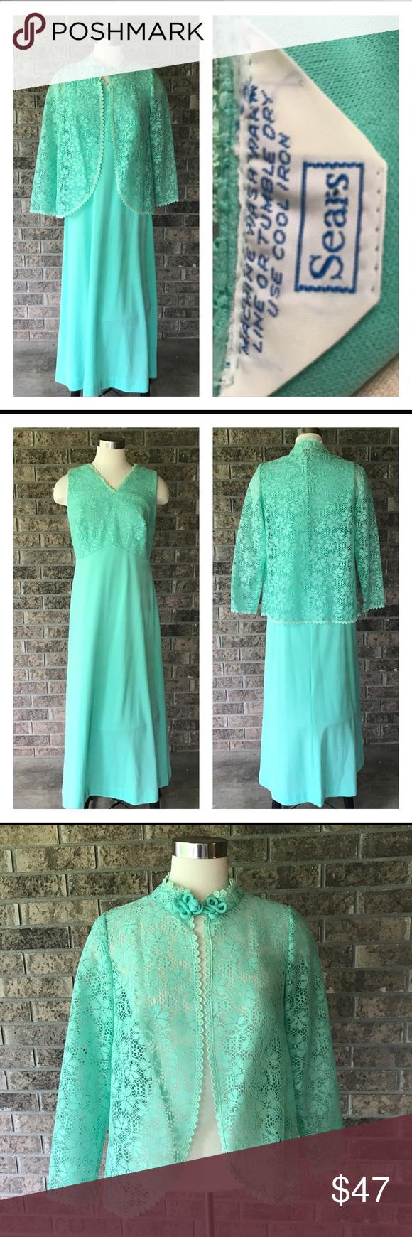 Green dress with lace overlay  Vintage Sea Green Maxi Dress and Lace Jacket  Green Lace and Overlays