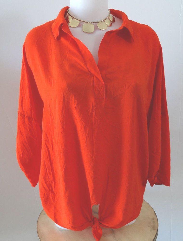e8e43b2b Women's Coldwater Creek Shirt Blouse Size XL Tie Front Rayon Orange w  Rolltab #ColdwaterCreek #Blouse