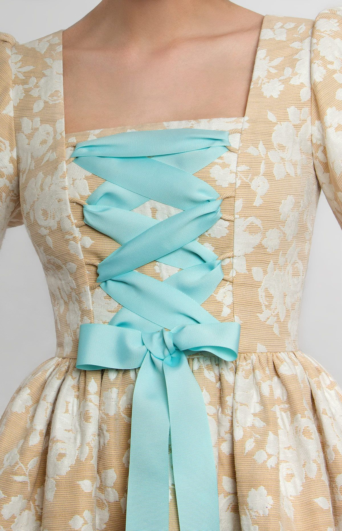 Balloon natural jacquard cotton dress trimmed with ribbon. Balloon ...