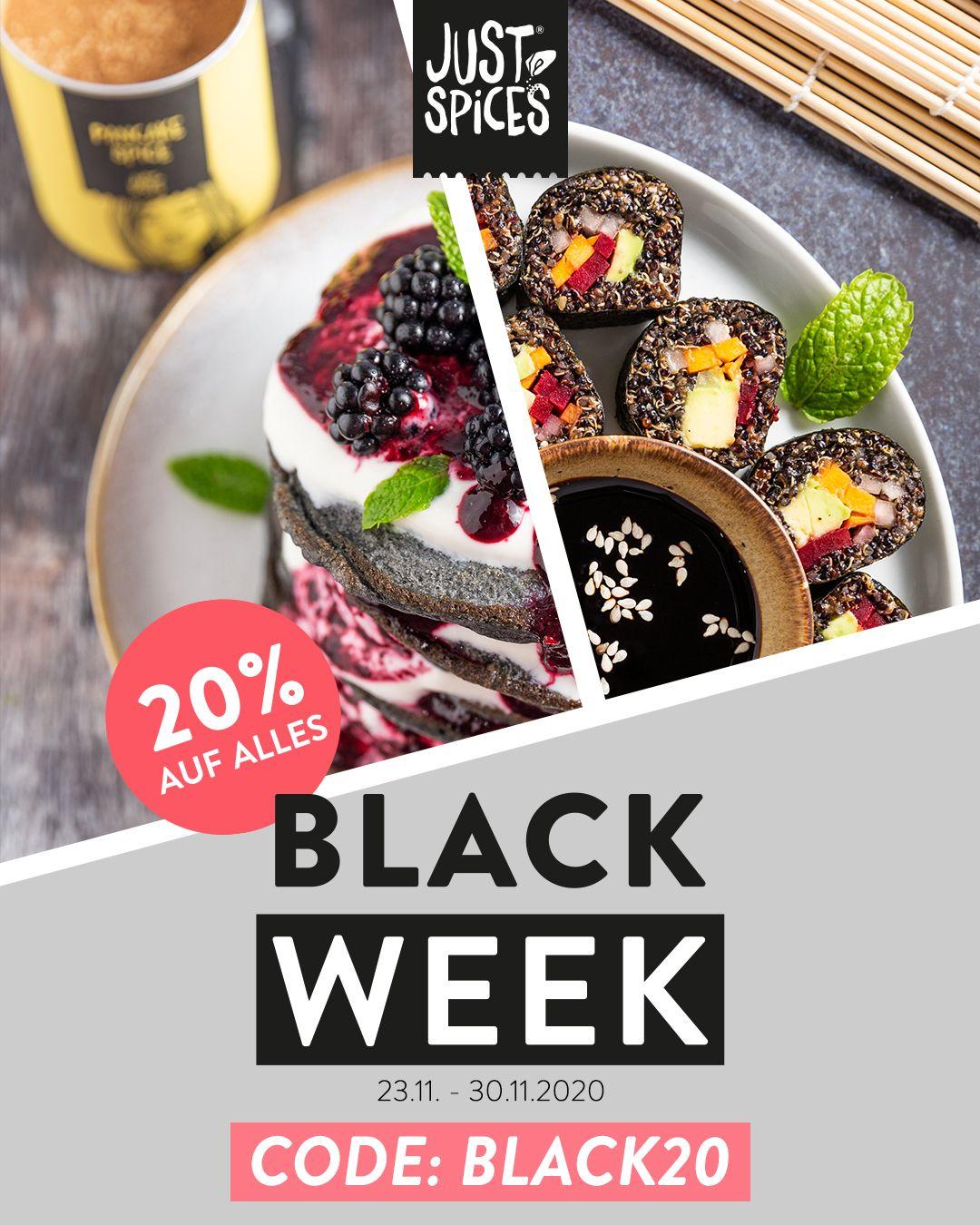 20% auf alle Just Spices Produkte während der Black Week 2020
