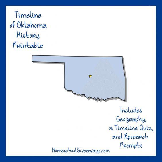 FREE Oklahoma State History Printable. Oklahoma's Location