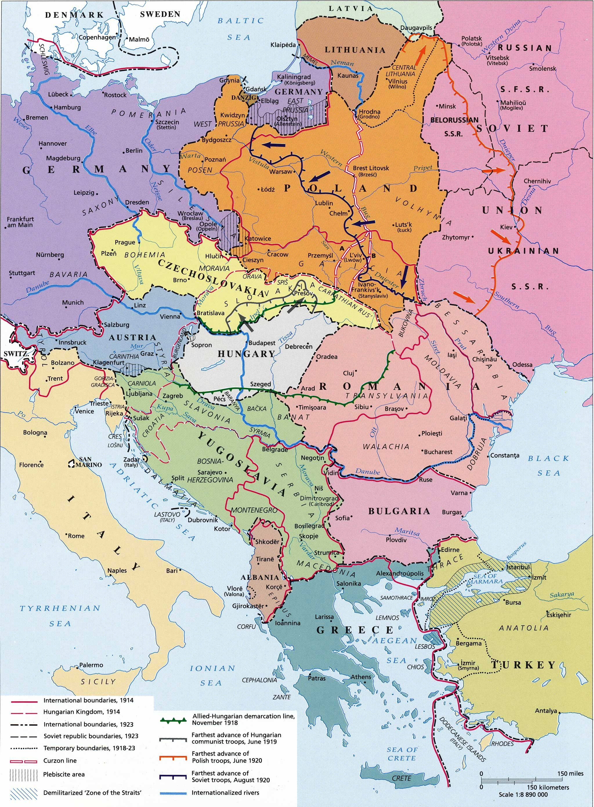 Central Eastern Europe after World War I | MAPS | World War I, Map ...