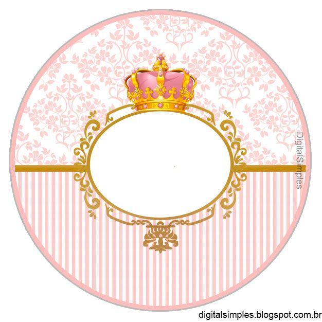 Corona Dorada En Fondo Rosa Etiquetas Para Candy Bar Para
