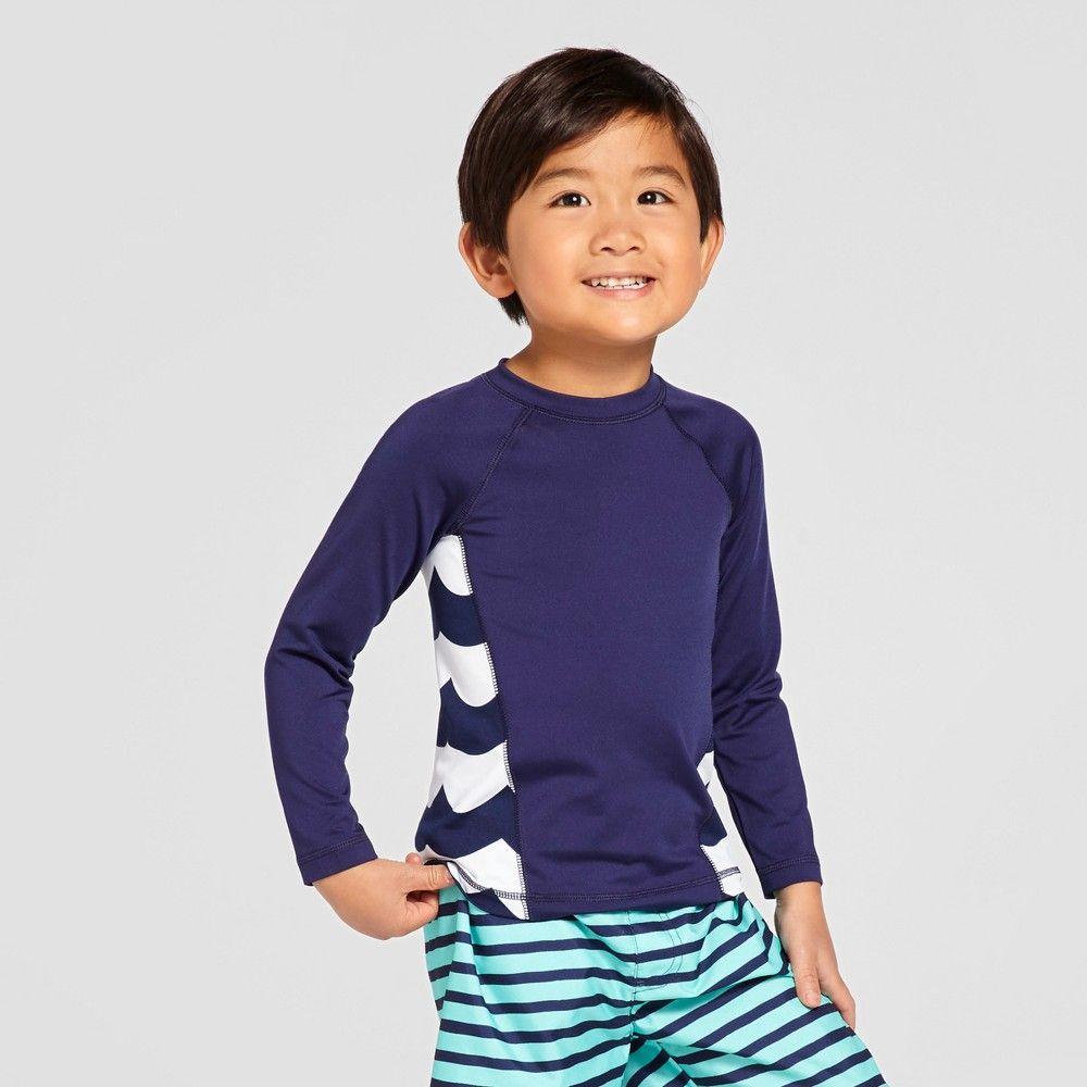 391290bb6d1a Toddler Boys' Wave Print Long Sleeve Rash Guard Cat & Jack - Navy 4T, Blue