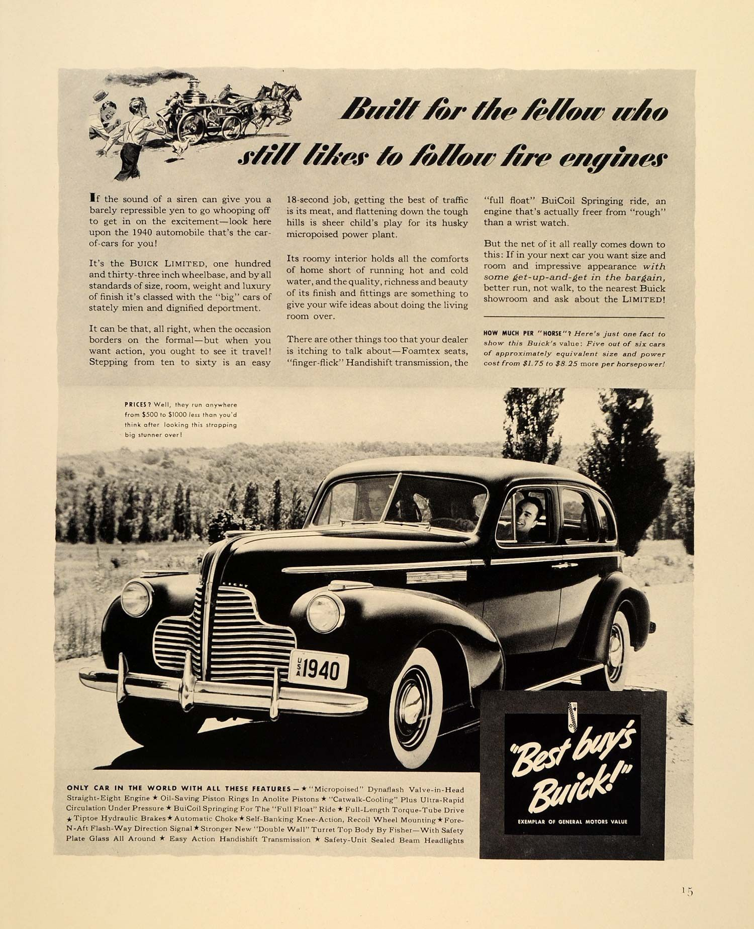 1939 Ad General Motors 1940 Buick Limited Automobile Original