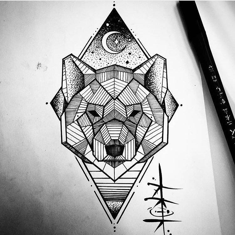 Line Art Wolf Tattoo: « Awesome Wolf/Bear Illustration By The Brilliant