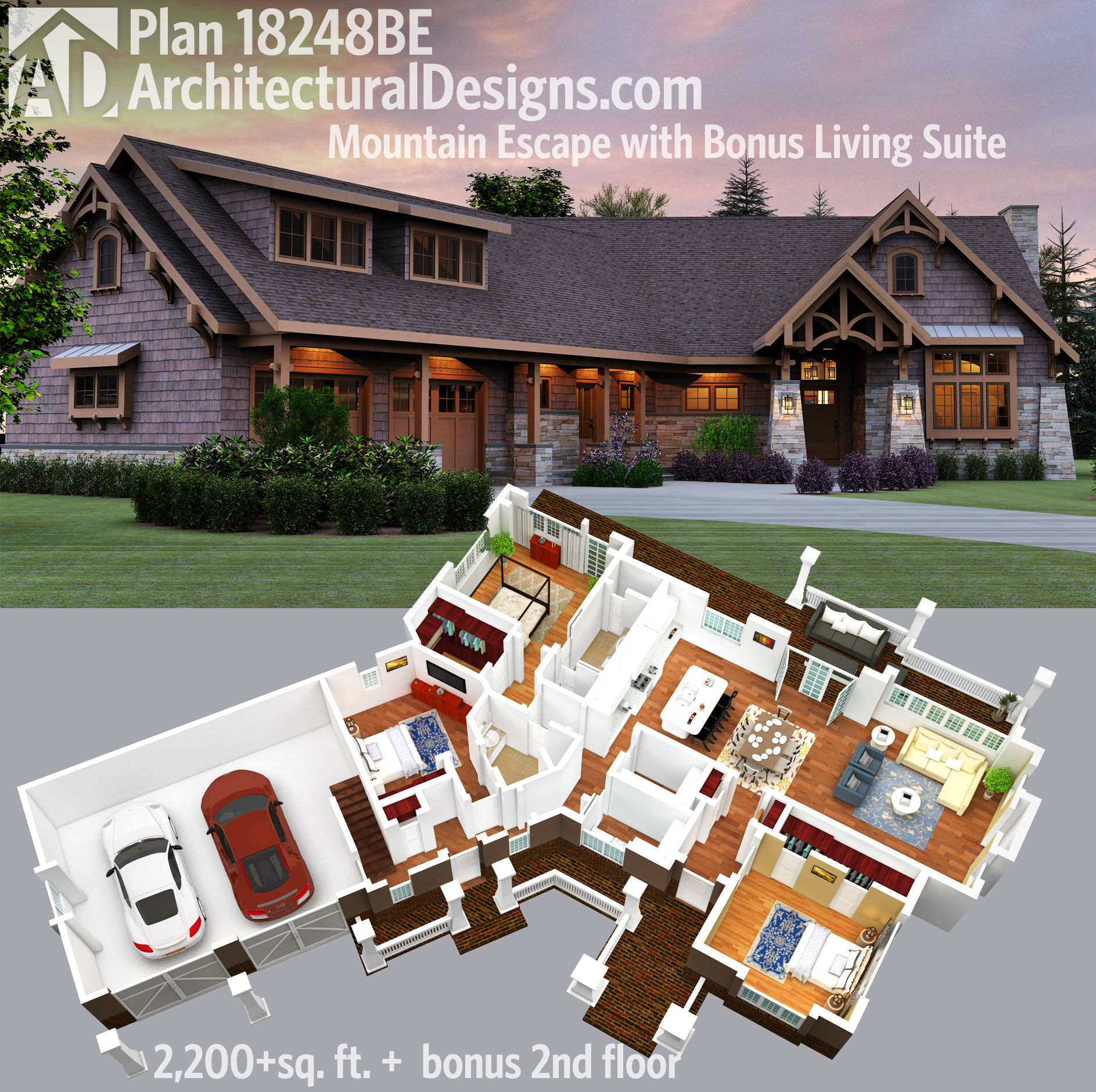 Architectural Designs Mountain Home Plan 18248BE Gives You Over 2,200 Sq.  Ft. Of Living