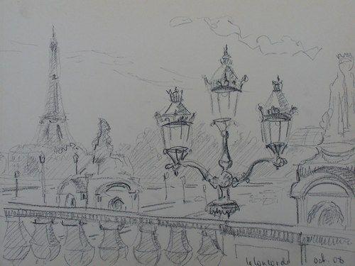 Sanguine pastel aquarelle portrait paysage crayon paris for Paris paysage