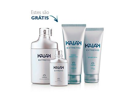 Presente Natura Kaiak Extremo - Desodorante Colônia - 100ml e 25ml + Gel após Barba + Shampoo + Embalagem Desmontada | Rede Natura