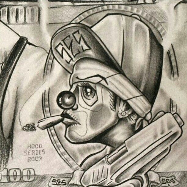 Images Evil Gangster Clown Drawings Lowrider Art Chicano