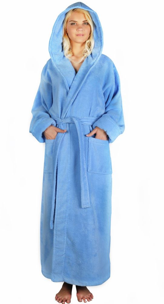 alexander del rossa women's terry cotton full-length hooded bath