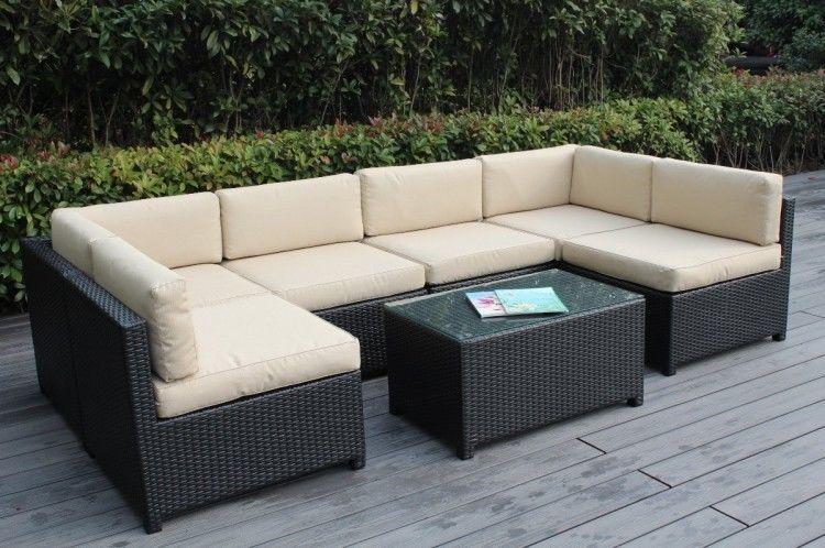 Outdoor Wicker Modular Cushioned Seating 7pcs Set Lawn Garden Free