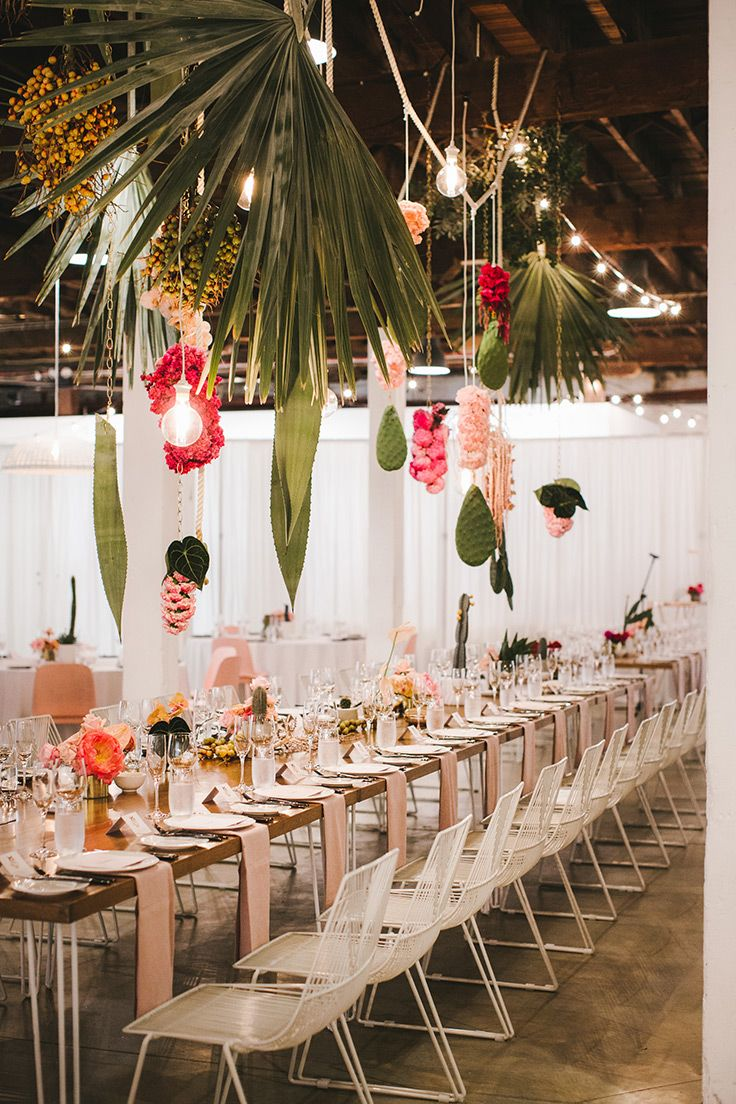 Tropical Industrial Wedding With Cacti Chandeliers Creative
