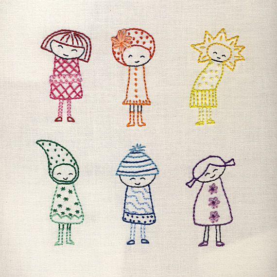 Rainbow Girls Embroidery Pattern Pdf Sew Cute Pinterest