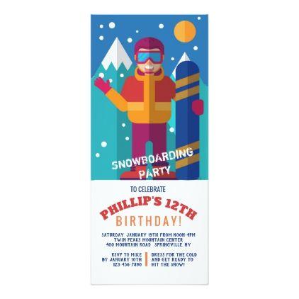 Snowboard Kid Invitation Invitation Ideas
