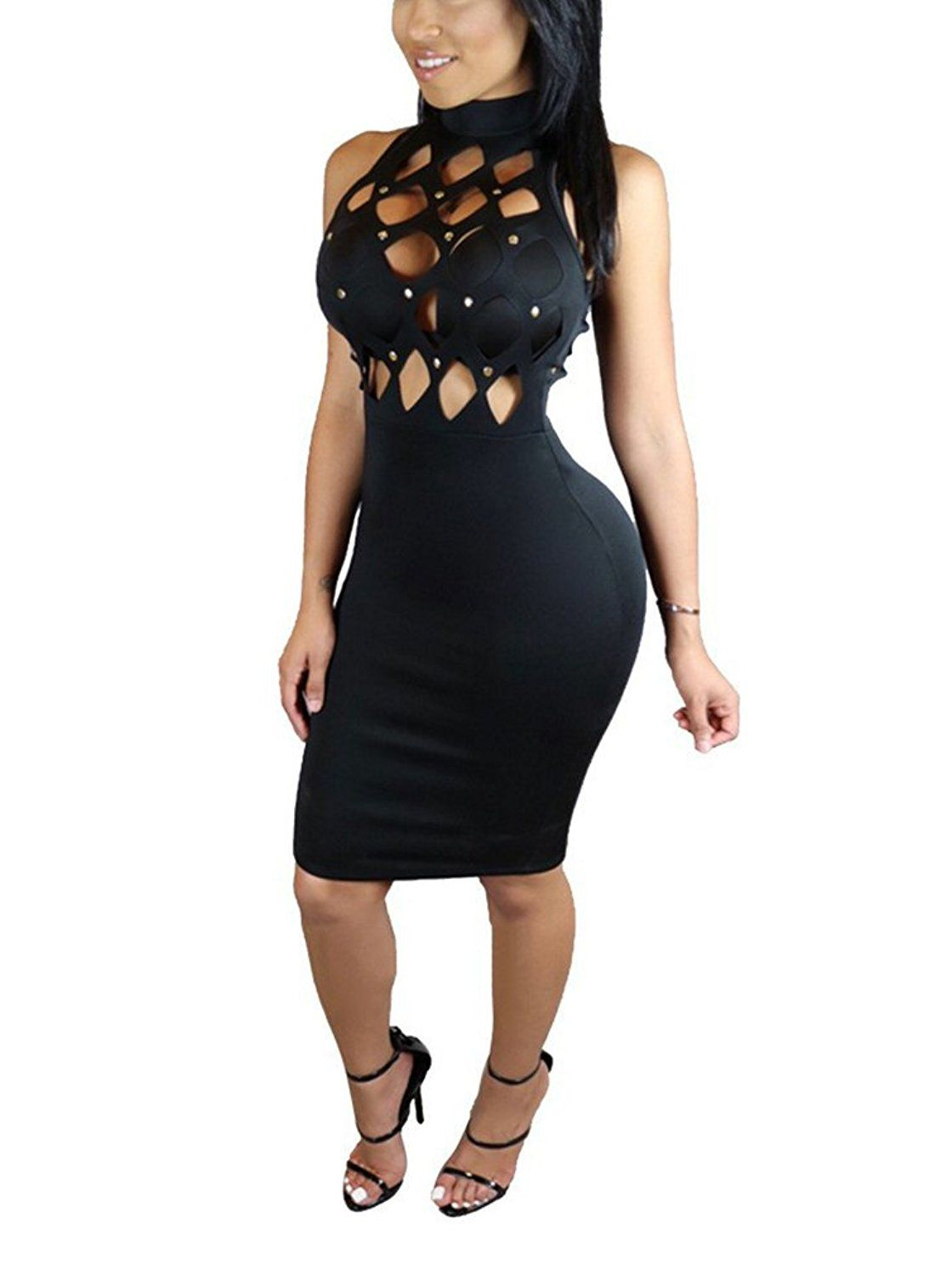 e69334d2a8c45 Amazon.com: Annystore Womens Sexy Hollow Out Sleeveless Short Bandage Party  Bodycon Dress: Clothing