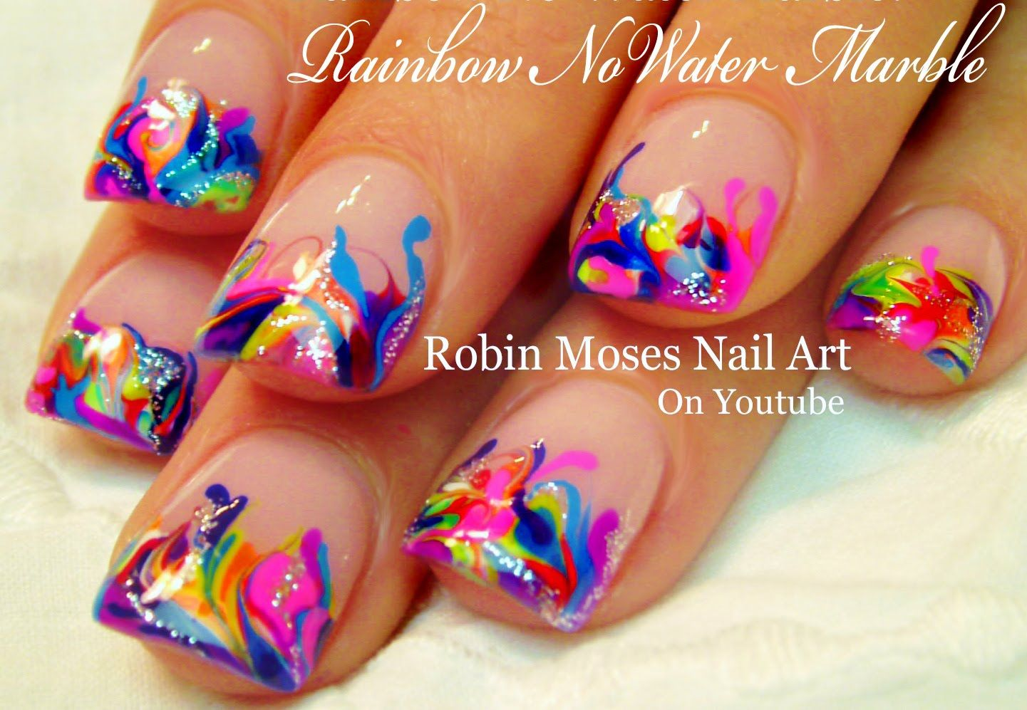 Neon Rainbow Nails! - No Water needed Drag Marble Nail Art Tutorial ...