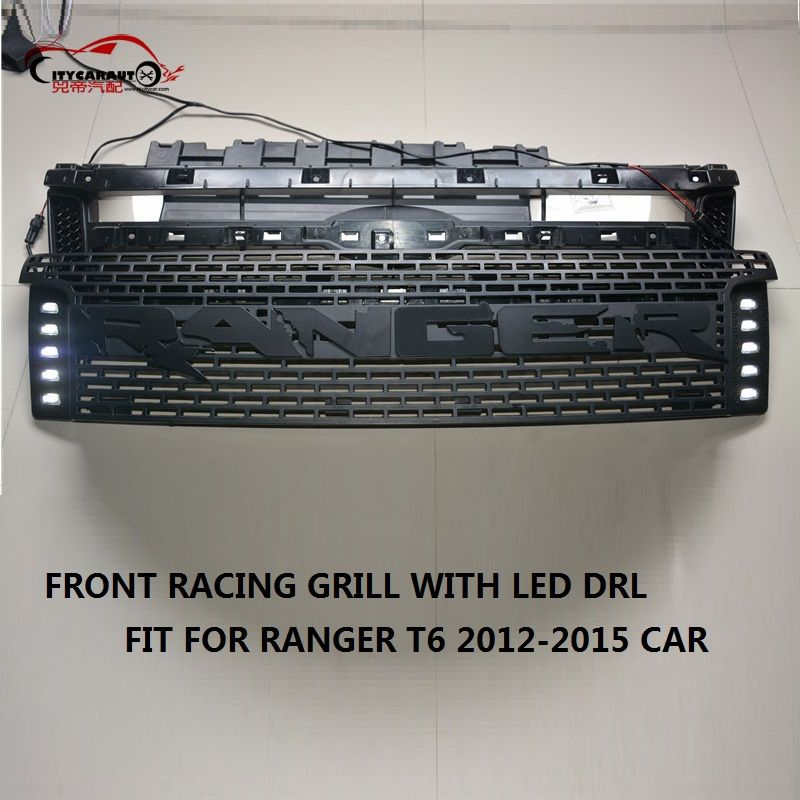 Citycarauto Led Racing Grill Grille Abs Black Front Grill Trim For
