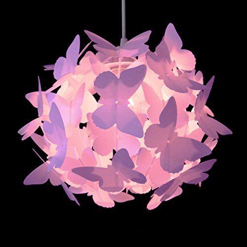 belle moderne et lumineux de couleur rose suspension lustre pendentif papillons sur boule abat. Black Bedroom Furniture Sets. Home Design Ideas