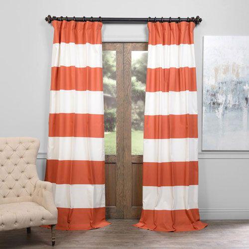 Orange And Off White 50 X 108 Inch Horizontal Stripe Curtain Half